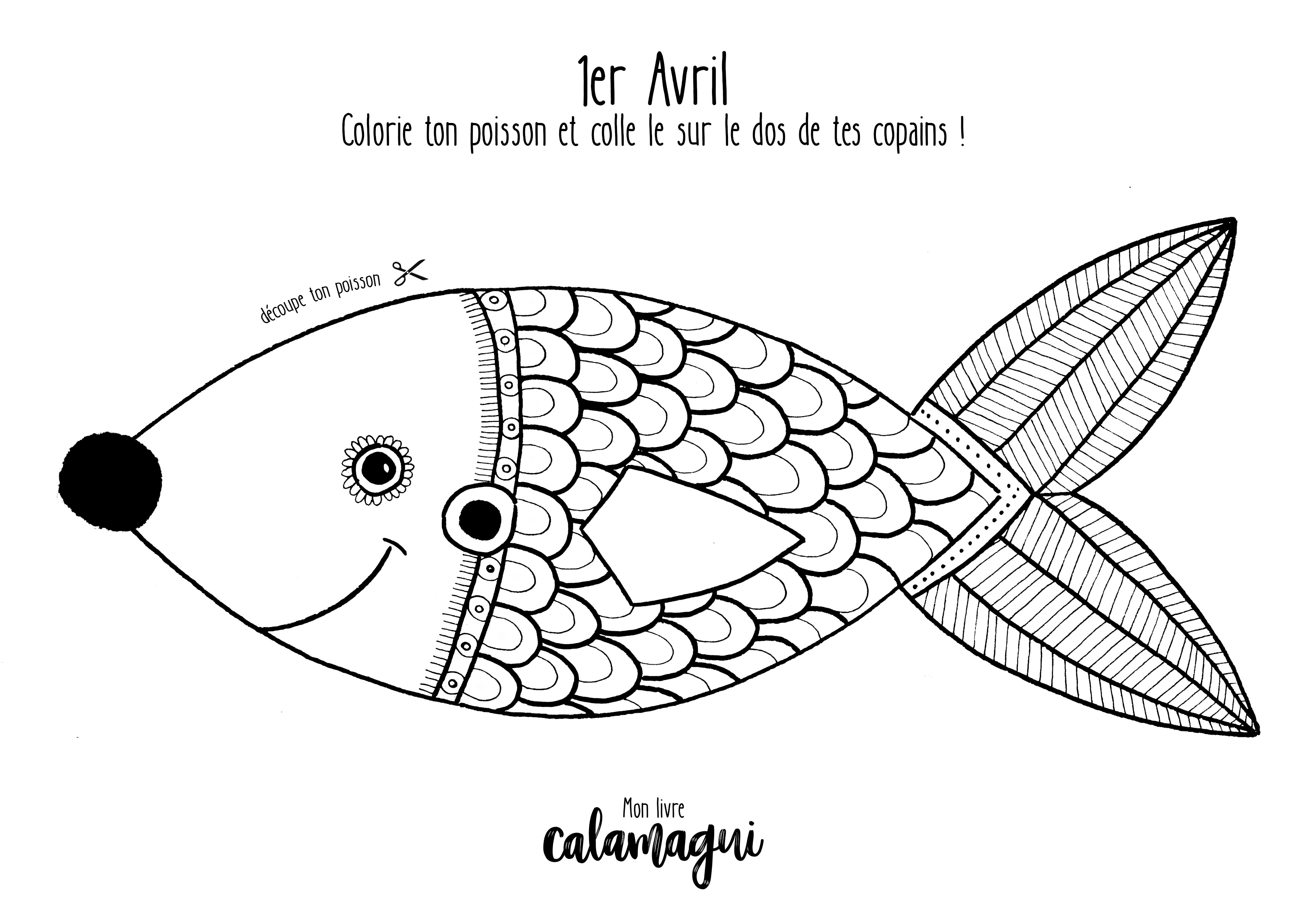 Le Poisson D Avril A Colorier